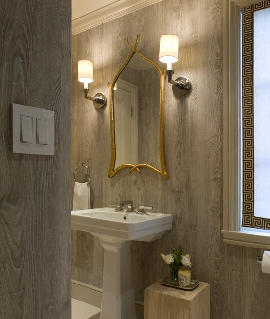 Faux Wood Wallpaper In Bathroom