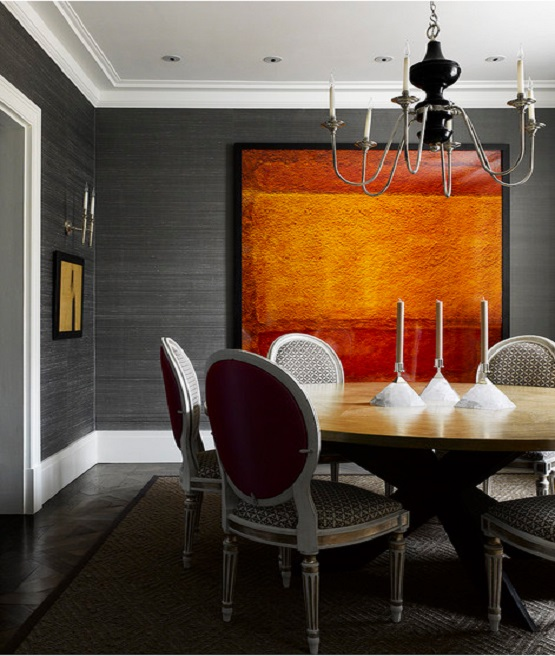 Grasslcloth in Dining Room