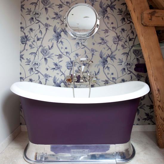 Purple Fl Bathroom Wallpaper