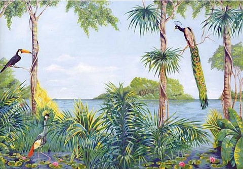 Tropical Wall Murals tropical wall mural with tuscan bird | totalwallcovering
