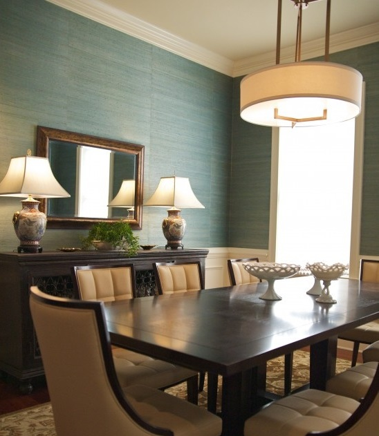 Dining Room With Grasscloth Wallcovering