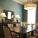 Blue grasscloth in Dining Room