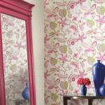 floral wallpaper botanical accent wall