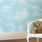 cloudy blue sky wallpaper nursery inspiration