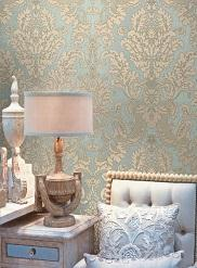 Blue Agnese Embossed Damask