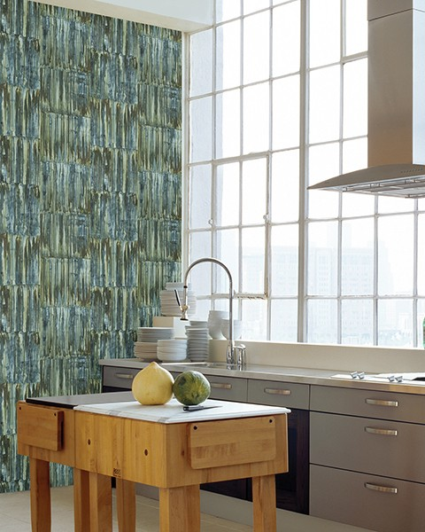 Patina Panels Blue Metal Wallpaper