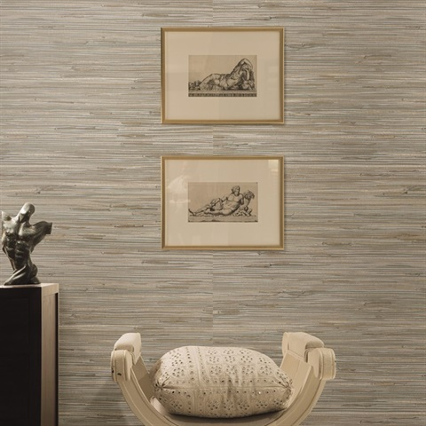 Heiki Light Grey Grasscloth Wallpaper