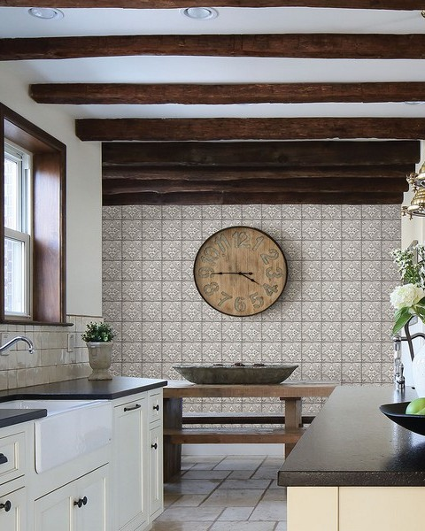 Houston White Tin Tile Wallpaper