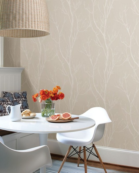 Laelia Beige Silhouette Tree Wallpaper
