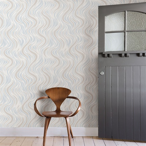 2811-JY10303 Roxie Light Grey Wave Wallpaper