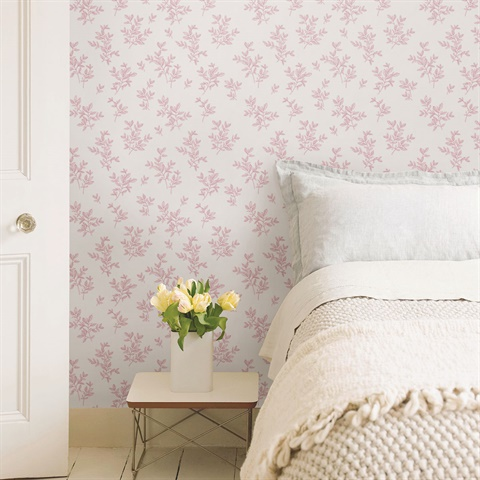 2811-LV04202 Pothos Pink Toss Wallpaper