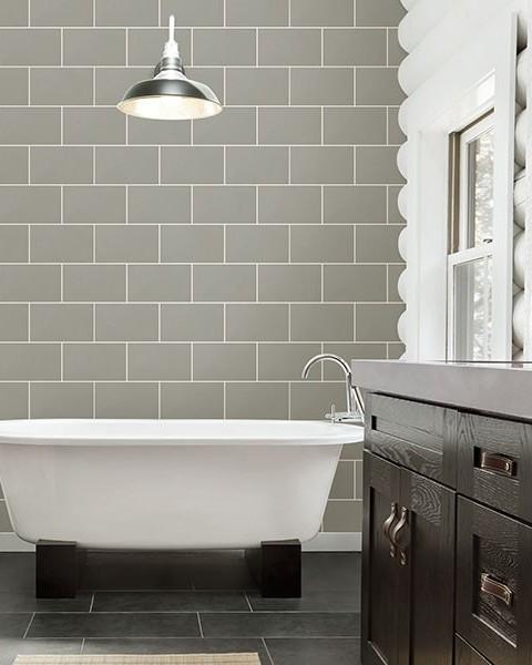 2814-M1123, Neale Light Grey Subway Tile Wallpaper