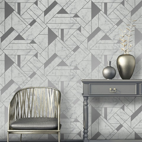 2834-M1467 Gulliver Silver Marble Geometric Wallpaper