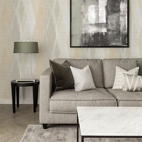 Torrance Neutral Distressed Geometric Wallpaper