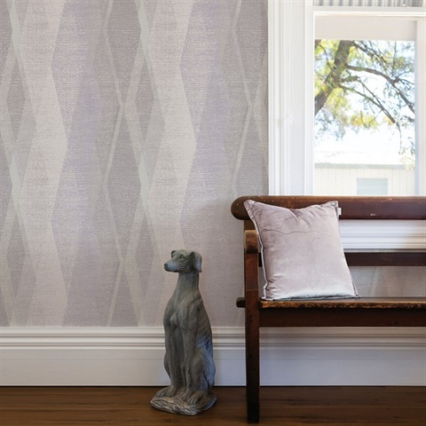 Torrance Lavender Distressed Geometric Wallpaper