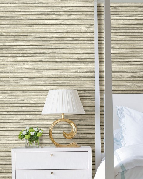 2927-81305 Bellport Ivory Wooden Slat Wallpaper