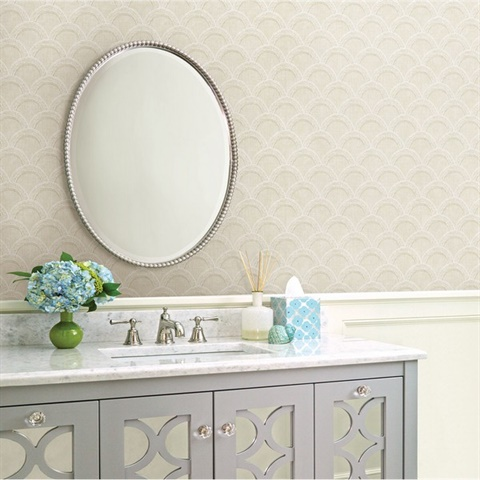 Bixby Beige Geometric Wallpaper