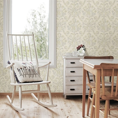 Shasta Grey Damask Wallpaper