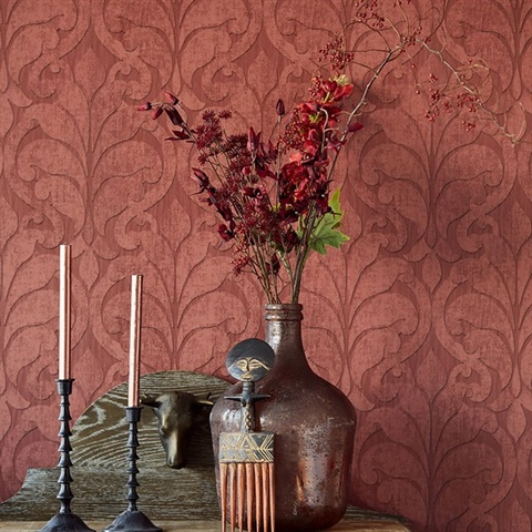 Vallon Maroon Damask Wallpaper