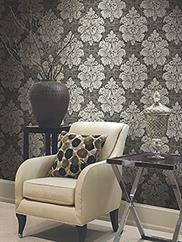 Black New York Damask Wallpaper