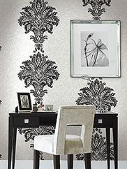 Black and White Hollywood Damask Wallpaper