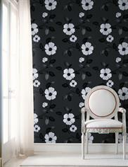 450-46962 Black & White Textured Floral Wallpaper