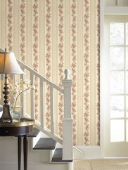 992-68316 Tiffany Scroll Floral Striped Wallpaper