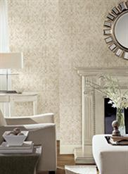 Baroque Allover White/Gold Scroll Damask