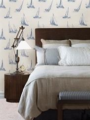 Navy Voyage Sailboat Toile Wallpaper