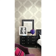 GA31800 Glitter, Raised Ink Damask Wallpaper