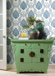Blue Ogee Damask Wallpaper by Ashford House