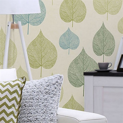 M1071 Quest Green Leaf Wallpaper For Your Home Total Wallcovering