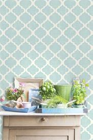 Watercolor Quatrefoil Trellis