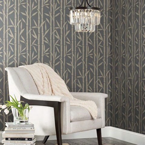 OG0604 Non-Woven Raised Texture Bamboo Grove Wallpaper by Antonina Vella
