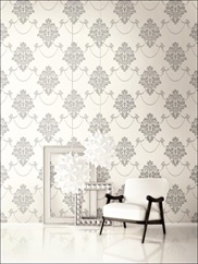 TR60306 Glitter, Raised Ink Medallion Wallpaper