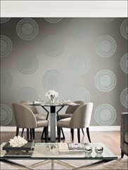 TR61104 Glitter, Raised Ink Medallion Wallpaper
