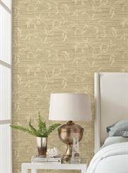 Neutral Faux Grasscloth with Vine Scroll