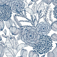 Alannah Navy Botanical Wallpaper