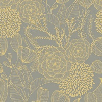 Alannah Taupe Botanical Wallpaper