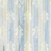 Alison Blue Damask Motif  Wallpaper