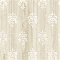 Alison Beige Damask Motif  Wallpaper