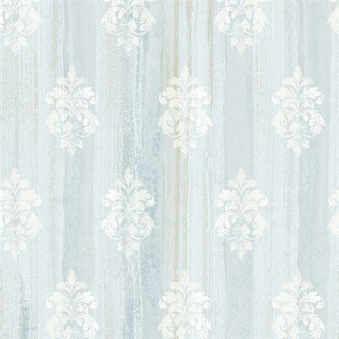 Alison Aqua Damask Motif  Wallpaper