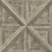 Carriage House Brown Geometric Wood Wallpaper