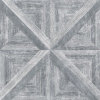 Carriage House Grey Geometric Wood Wallpaper