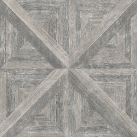 Carriage House Taupe Geometric Wood Wallpaper