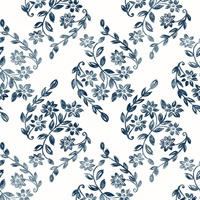 Arabesque Blue Floral Trail Wallpaper