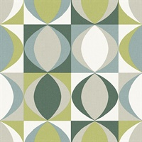 Archer Green Linen Geometric Wallpaper