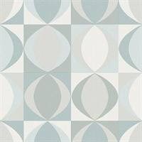 Archer Light Blue Linen Geometric Wallpaper