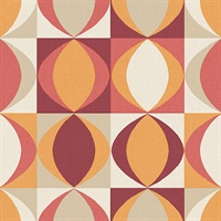 Archer Red Linen Geometric Wallpaper