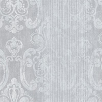 Ariana Silver Striped Damask Wallpaper